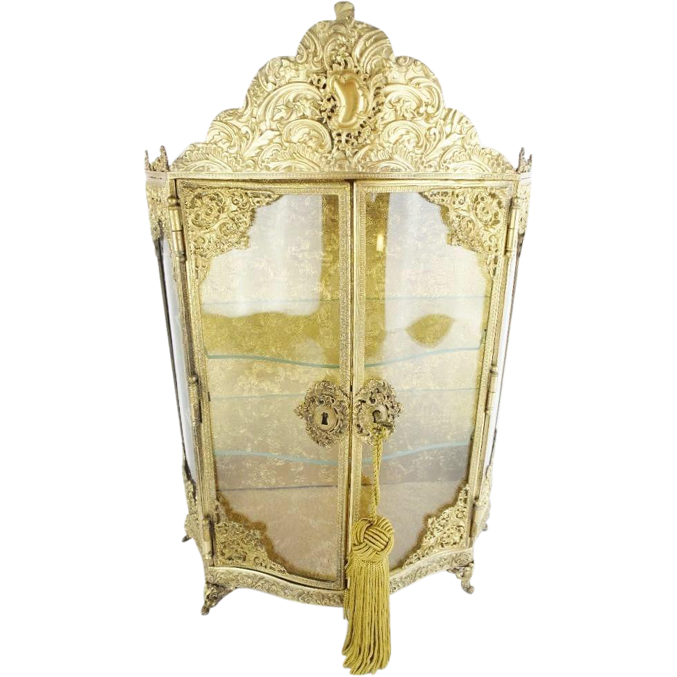 "Exquisite Antique French Gilt  Miniature Vitrine ""CURVED GLASS DOORS"""