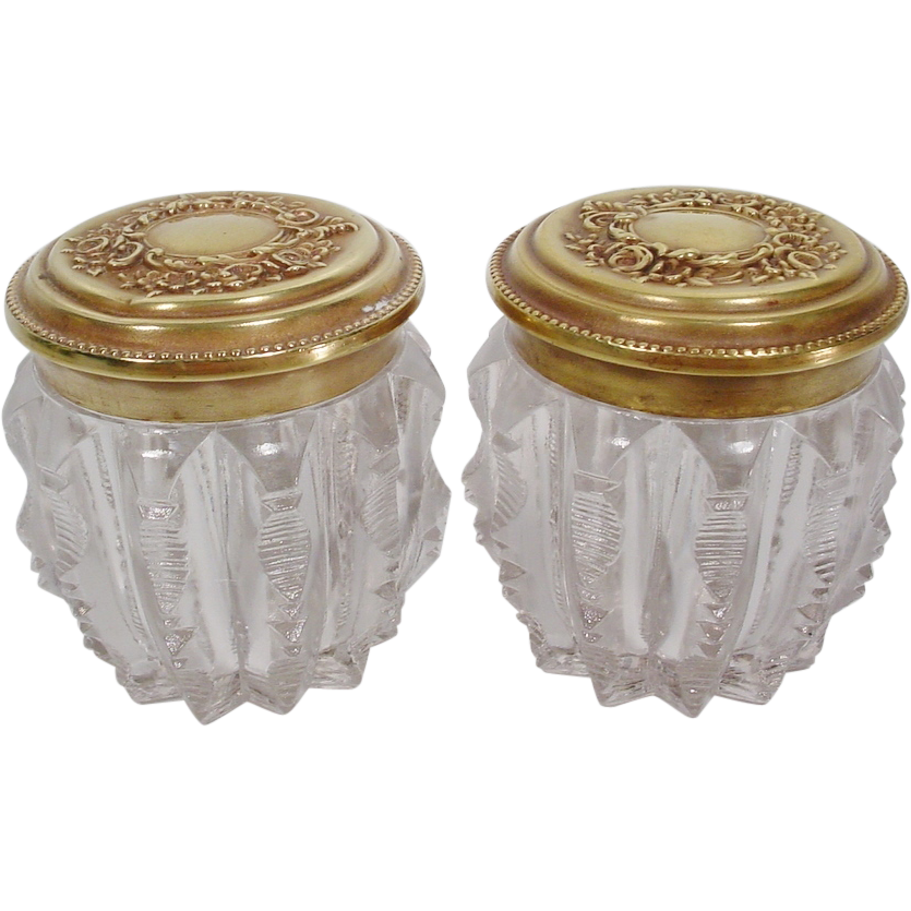 "PAIR Beautiful Antique English Crystal Jars ""Fabulous Brass Tops"""