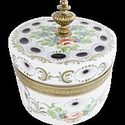 WWW Antique Bohemian White Cut to Amber Casket Box