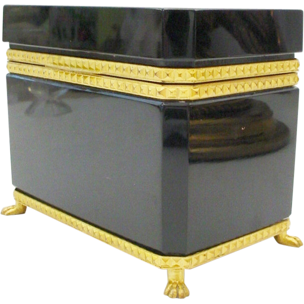 "Magnificent Antique French Opaline Casket Hinged Box ""PAW FEET"""