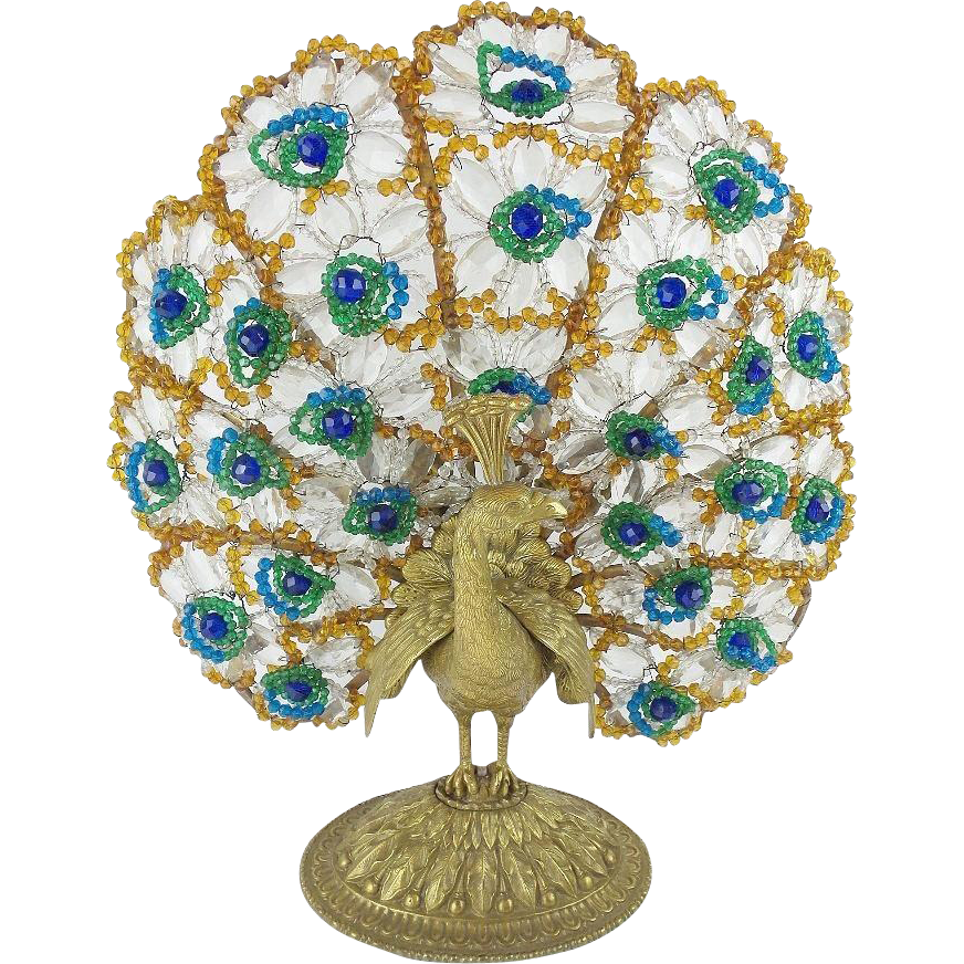 "17"" 1920 Czech Peacock Lamp ""THREE LIGHT"""