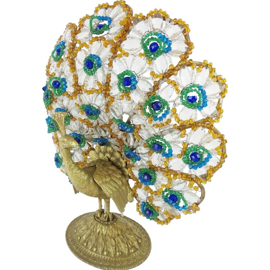 "1920 Czech Peacock Lamp  ""BIG Ornate Base # 2"""