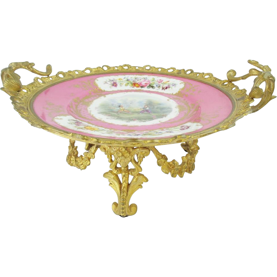 "Antique French Sevres Gilt Ormolu Center Piece ""Majestic Floral Garland Swags"""