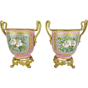 "Antique French Sevres Style Cachepots ""Luscious Pink Porcelain"""