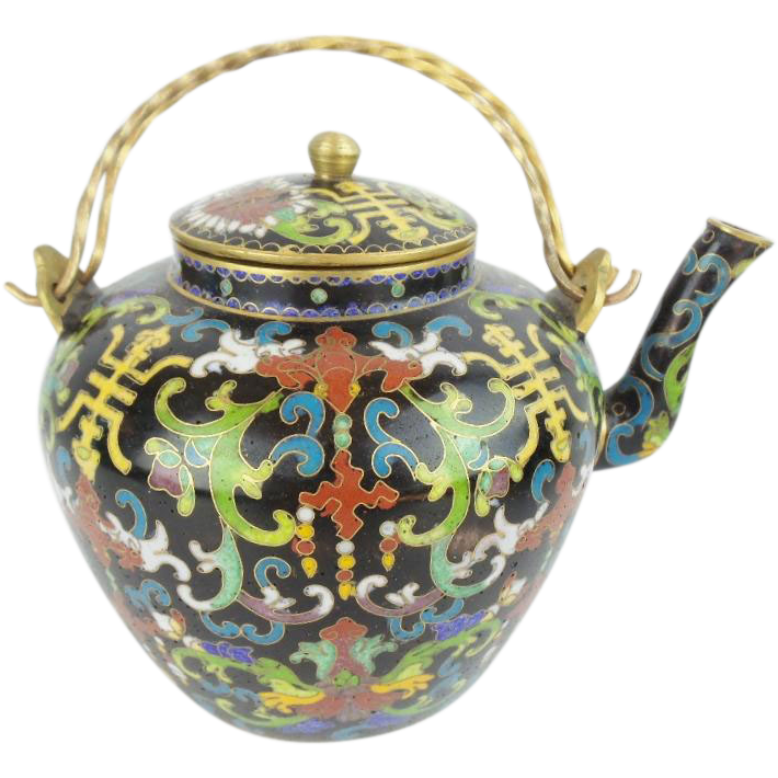 "Antique Chinese  Cloisonne Tea Pot ""Double Handles"""