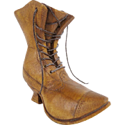 """Antique Carved Wood """"BOOT""""  Go to Bed  W/ String Lacing"""