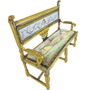 "Antique Viennese Enamel Miniature Settee ""RARE SHAPE"""