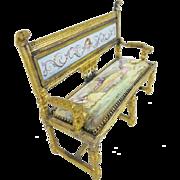 """Antique Viennese Enamel Miniature Settee """"RARE SHAPE"""""""