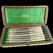 Antique Seven Day Set of Wilkinson Straight Razors in Original Alligator Box