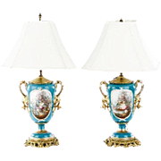 "Magnificent Antique Old Paris Porcelain Double Handle Lamps ""PAIR"""