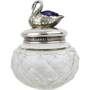 1907 Thimble Jar w Silver Swan Pin Cushion Top