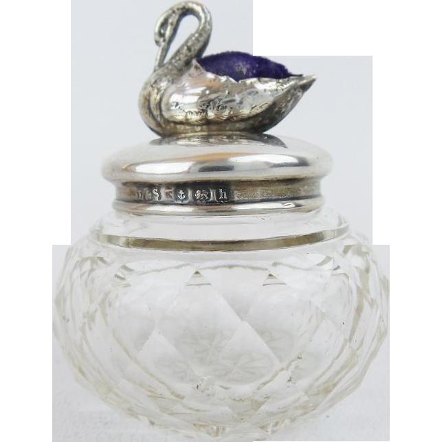 1907 Thimble Jar w Silver Swan Pin Cushion Top