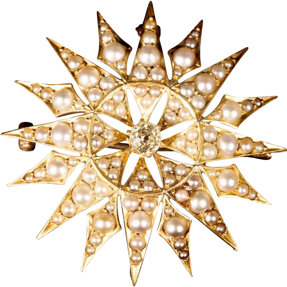 14K Seed Pearls and Diamond Sun Burst Brooch Pendant   'EXQUISITE""