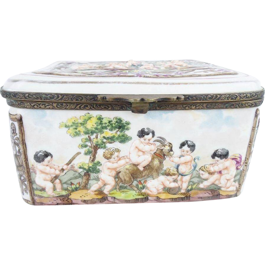 "Wonderful Antique Capodimonte ""Putti, Tiger and Goat""  Casket Hinged Box."