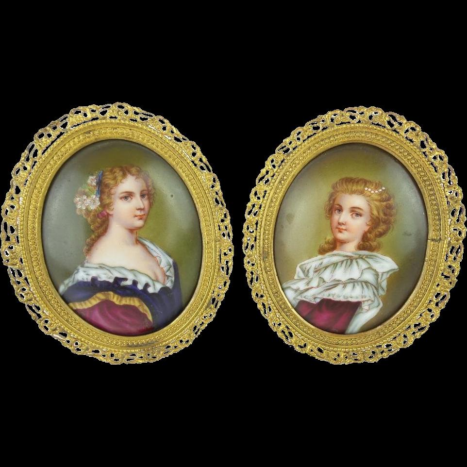 """PAIR Antique French Porcelain Miniatures """"PRETTY LADIES"""""""