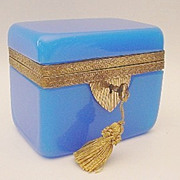 "Antique Blue Opaline Casket Hinged Box  ""RARE & MAGNIFICENT"""