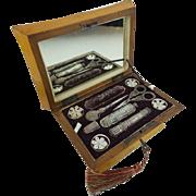 """Grandest 1830 Musical Etui  Necessaire Sewing Box """" 9 ORIGINAL PIECES"""""""
