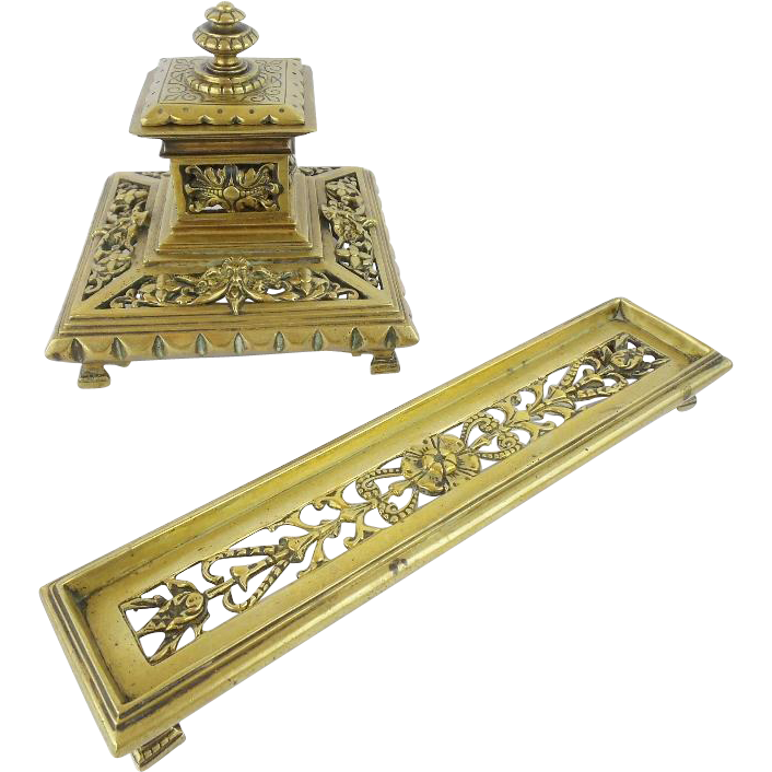 "Brass Inkwell and Pen Tray "" BEAUTIFUL & ORNATE"""