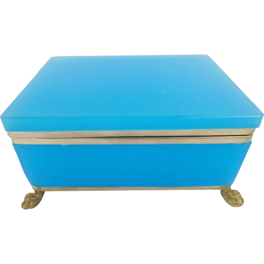 "Large Antique French Blue Opaline Casket Hinged Box ""PAW FEET"""