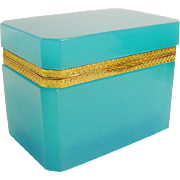 "Antique French  Opaline Casket Hinged Box ""TURQUOISE OPALINE"""
