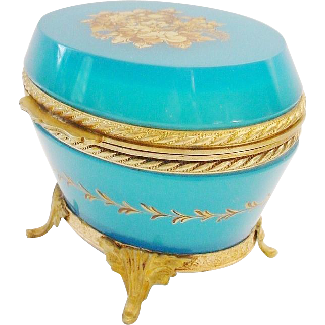 "LAYAWAY Antique French Turquoise Opaline Hinged Box Casket ""Stamped FRANCE"""