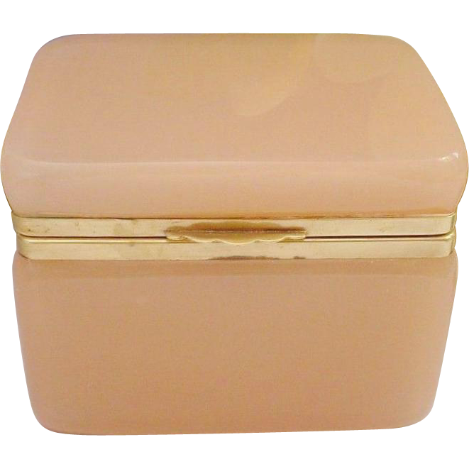 Antique French Pink Opaline Hinged Box