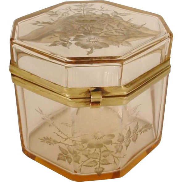 "Antique Bohemian Pink Crystal Hinged Box ""BEAUTIFUL ETCHED """