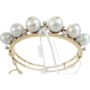Estate 14K Pearl and Diamond Bangle Bracelet