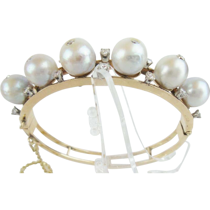 Estate 14K Pearl and Diamond Bangle Bracelet