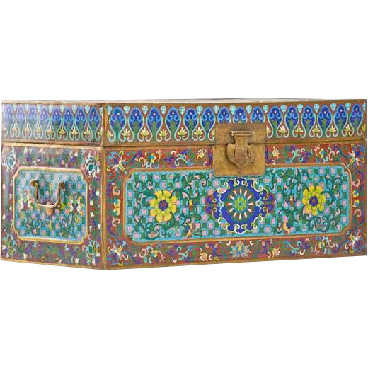 "Antique Chinese Double Handle Cloisonné Trunk ""MAGNIFICENT & RARE"""