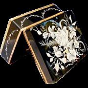 "Antique Bohemian Black Opaline Casket Hinged Box "" DIVINE WHITE FLOWERS"""