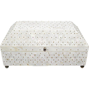 """BIG Vintage Mother of Pearl Casket Hinged Box 'EXQUISITE"""""""