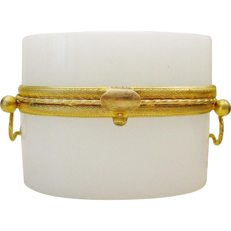 Antique French White Opaline Double Handle Casket Hinged Box