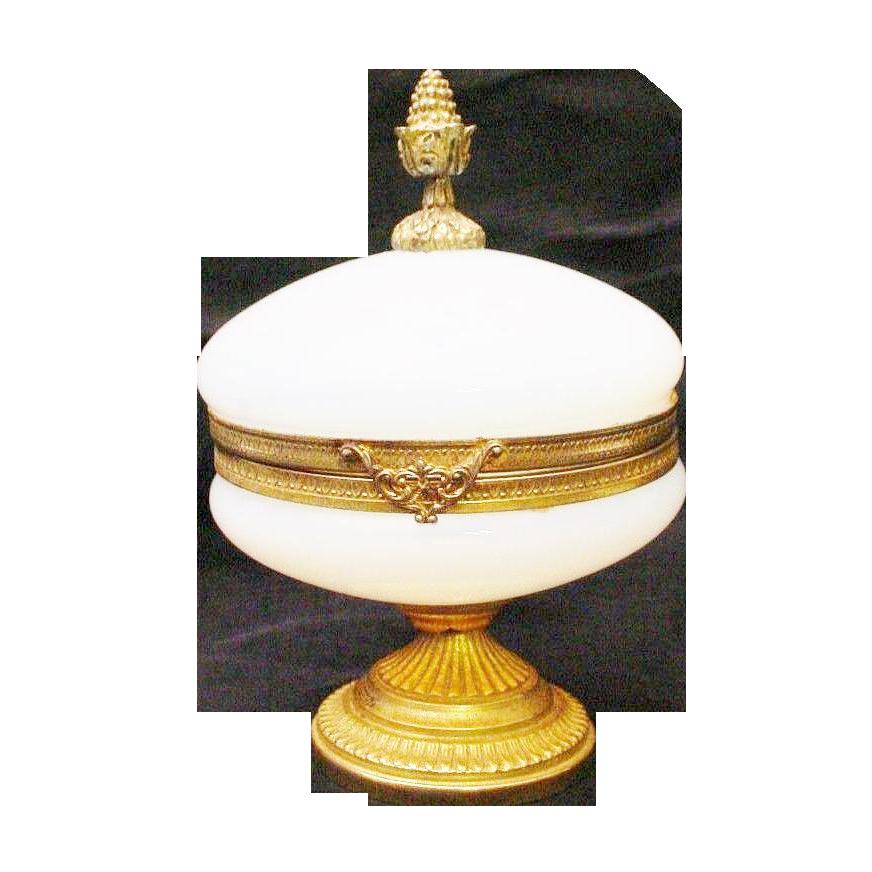 "Antique French Opaline ""Bulle de Savon"" Casket Hinged Box"