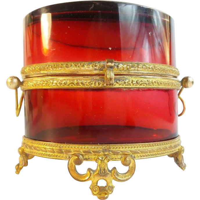 Antique French Ruby Double Handle Casket Hinged Box MAGNIFICENT COLOR""