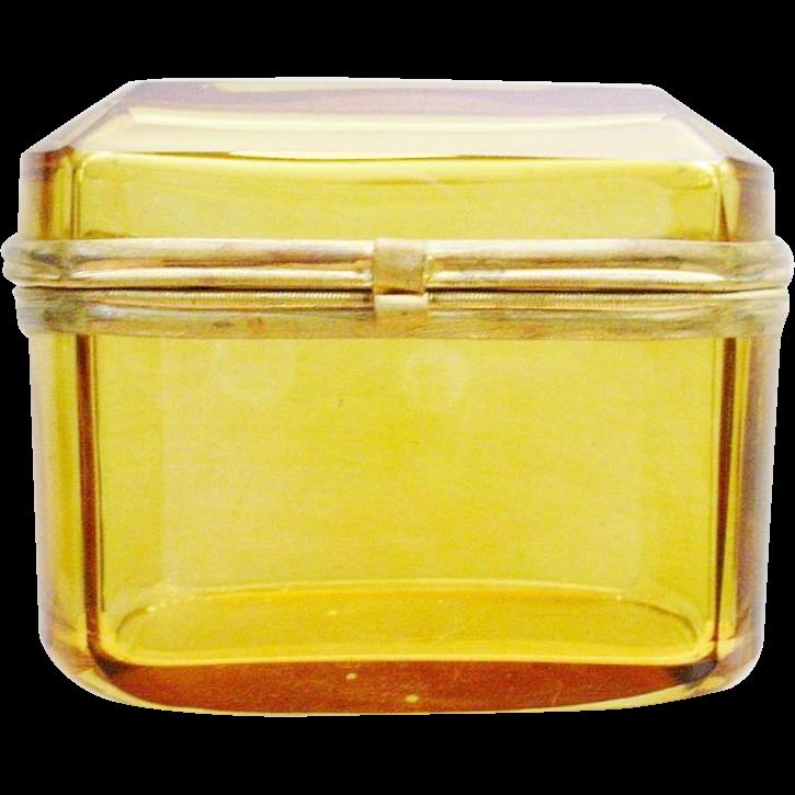 Bohemian Antique Amber Hinged Box