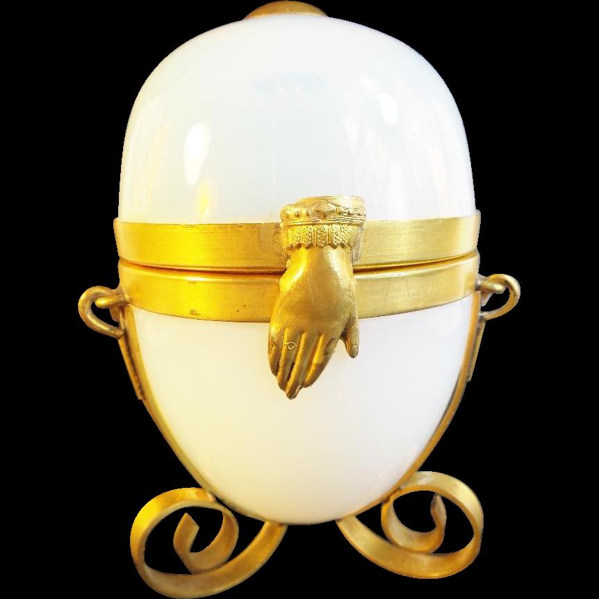 "Antique French Bulle de Savon Opaline Casket Hinged Box ""BIG"""