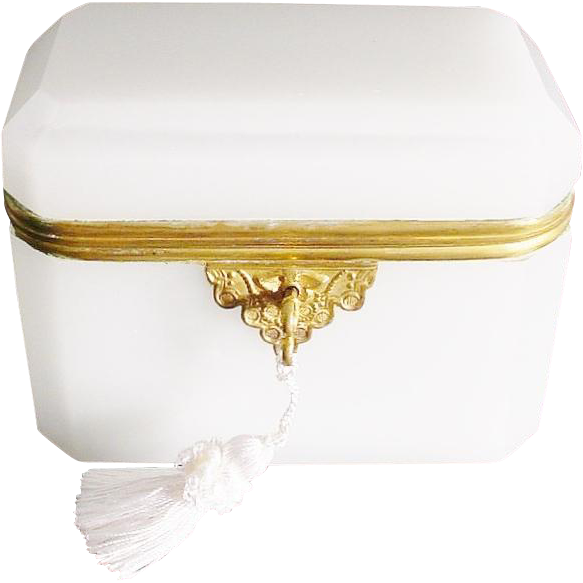 "Antique French Dome Top White Opaline Casket Hinged Box ""BEAUTIFUL"""
