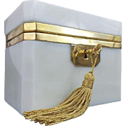 """LAYAWAY Antique French White Opaline Casket Hinged Box  """"CREAMY WHITE OPALINE"""""""