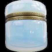 """Antique French Bulle de Savon Opaline Casket Hinged Box """"MASSIVE & LUMINOUS"""""""