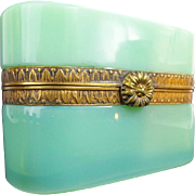 """Antique French Green Opaline Casket Hinged Box """" FANCY MOUNTS & CLASP"""""""