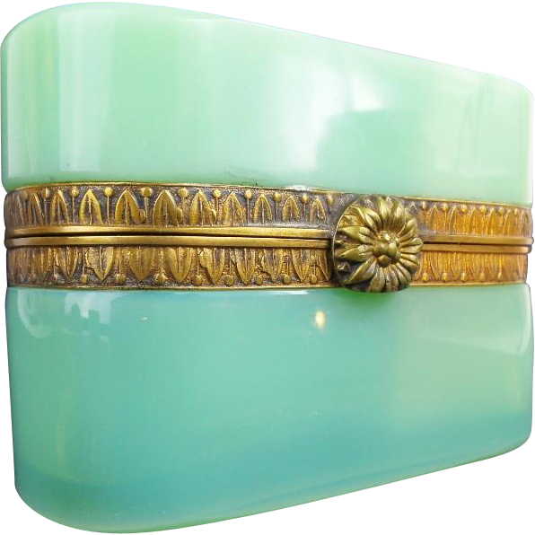 "Antique French Green Opaline Casket Hinged Box "" FANCY MOUNTS & CLASP"""