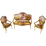 Antique Viennese Enamel Miniature Set of Two Chairs,  and Settee … Extraordinary Pastoral Scenes