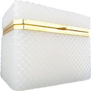 "LAYAWAY Antique French Diamond Cut White Opaline Casket Hinged Box ""AWESOME CUT"""
