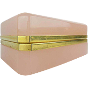 "Antique French Pink Opaline Casket Hinged Box  ""MAGNIFICENT"""