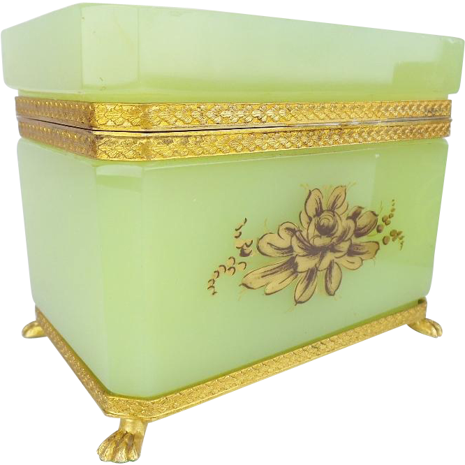 Antique Green Opaline Casket 'MAGNIFICENT GILDING""