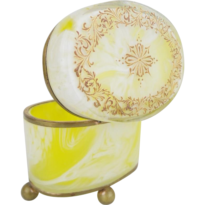 Antique Bohemian Lemon Swirl Casket Hinged Box