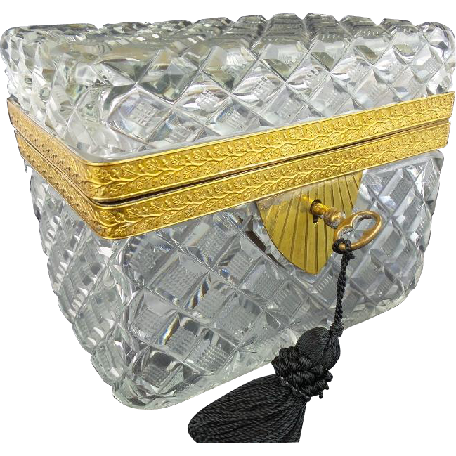 "Antique French Cut Crystal  Casket Hinged Box ""BIG RECTANGULAR"""