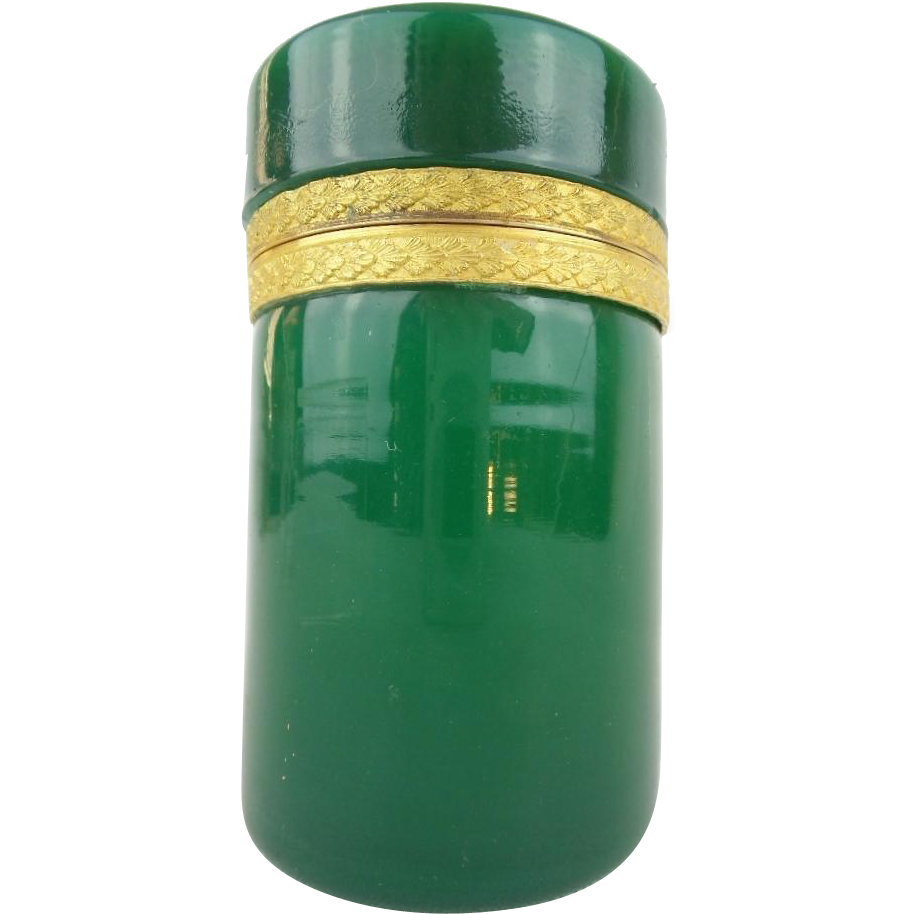 "Antique French  Opaline Tall Hinged Box ""EMERALD GREEN"""