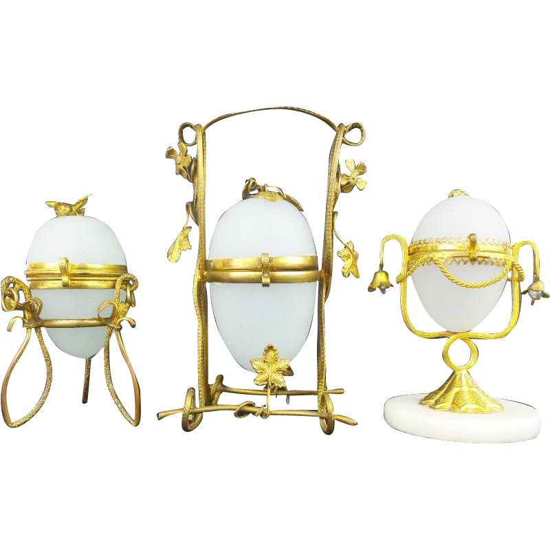 "A Palais Royal Opaline Egg Casket Hinged Box Collection "" GROUP OF THREE"""